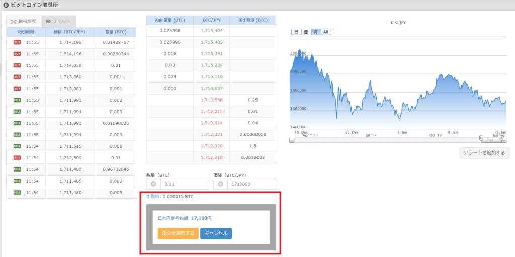 bitFlyerの取引所でビットコインを買う手順2